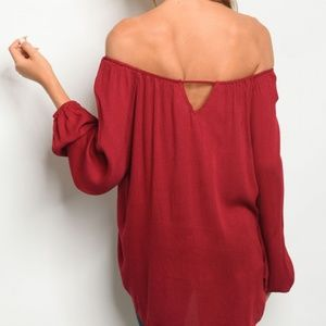 eb007378f17412 Tops - Brandi Burgundy Off the Shoulder Top